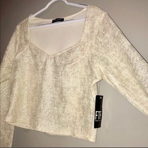 Crop Top Gold Shimmer. NWT.